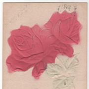 Greetings Vintage Postcard Best Wishes Pink Roses