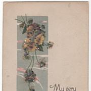 Greetings Vintage Postcard Best Wishes Yellow Flowers