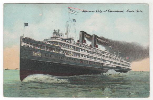 Steamer City Of Cleveland Lake Erie Vintage Postcard