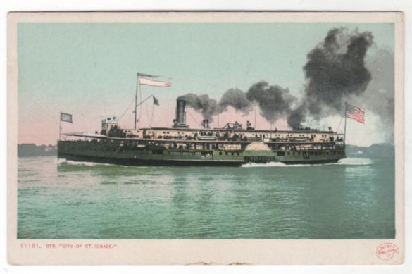 DPC Steamer City of St. Ignace Vintage Postcard
