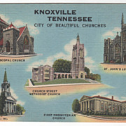 Knoxville TN Tennessee City of Beautiful Churches Vintage Postcard