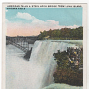 American Falls & Steel Arch Bridge from Luna Falls Niagara Falls NY New York Vintage Postcard