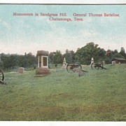 Monuments in Snodgrass Hill Chattanooga TN Tennessee Vintage Postcard