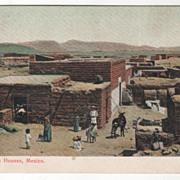 Adobe (mud) Houses Mexico Vintage Postcard