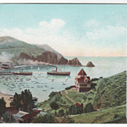 Bay at Avalon Catalina Island Showing Departure of Steamer Cabrillo CA California Vintage Post