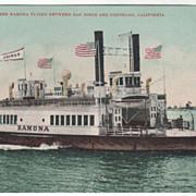 Ferry Steamer Ramona Plying between San Diego and Coronado CA California Vintage Postcard