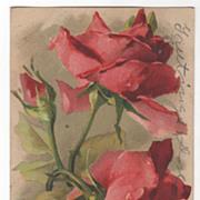 SOLD Artist Signed Unreadable Name Red Roses Vintage Postcard - Red Tag Sale Item