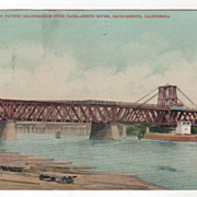 Southern Pacific Drawbridge over Sacramento River Sacramento CA California Vintage Postcard