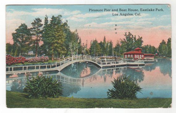 Pleasure Pier Boat House Eastlake Park Los Angeles CA California Vintage Postcard