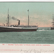 Steamer Santa Rosa at Wharf Santa Monica CA California Vintage Postcard