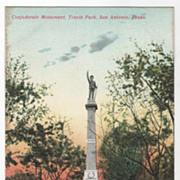 SOLD Confederate Monument Travis Park San Antonio TX Texas Vintage Postcard