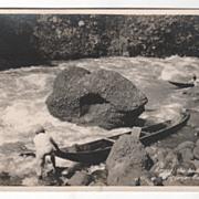 rppc AZO Among the Boulders Pagsanjan Gorge Philippines Vintage Postcard