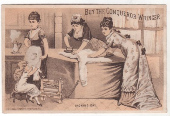 Conqueror Wringer John A Powers Milford NH New Hampshire Victorian Trade Card B