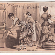 Conqueror Wringer John A Powers Milford NH New Hampshire Victorian Trade Card D