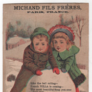 Michand Fils Freres Paris France H W Mammersley Westfield MA Victorian Tr Card