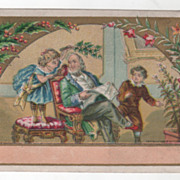 Man Reading Newspaper w/ Two Children in a Parlor Victorian Trade Card