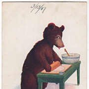 SOLD Artist Signed Wall Vintage Postcard Thursday This Little Bear Bakes Pies