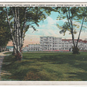 Saranac Inn Across Putting Green and Flower Gardens Upper Saranac Lake NY New York Vintage ...