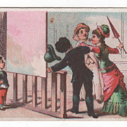 Woman Hitting a Man with Her Umbrella Victorian Trade Card