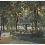 Fountain in Capitol Park Madison WI Wisconsin Vintage Postcard