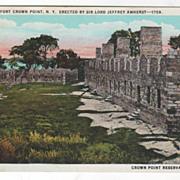 Ruins of Fort Crown Point N Y Crown Point Reservation N Y Vintage Postcard
