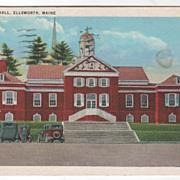 New City Hall Ellsworth ME Maine Vintage Postcard