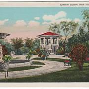 Spencer Square Rock Island IL Illinois Vintage Postcard