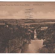 Looking Down Ithaca Gorge from Stewart Avenue Bridge Ithaca NY New York Vintage Postcard