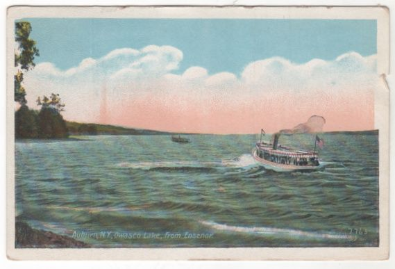 Auburn NY New York Owasco Lake from Ensenor Vintage Postcard