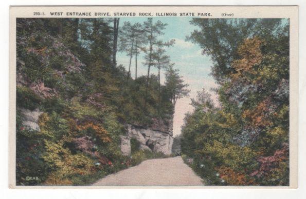 West Entrance Drive Starved Rock IL Illinois State Park Vintage Postcard