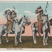 Native Americana Blackfoot Indian Chiefs on Horseback Vintage Postcard