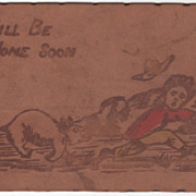 """Leather Animal Chasing Boy """"Will Be Home Soon"""" Vintage Postcard"""