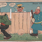 Mechanical Comic Happy and the Cop Vintage Postcard