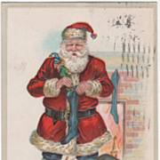 """Christmas Greetings"" Santa Claus Filling Stockings Christmas Vintage Postcard"