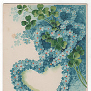 Easter Blue Floral Hearts and Green Clover Vintage Postcard