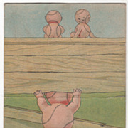 Two Baseball Children Sitting on Fence One Looking Thru Fence Vintage Postcard