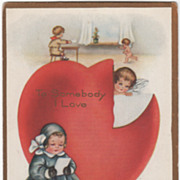 SOLD Large Red Heart with Tear Girl Reading Valentine Valentine Vintage Postcard