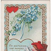 Boy in Rocking Chair Reading the Newspaper Valentine Vintage Postcard