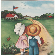 Boy and Girl Holding Hands on the Way to School Valentine Vintage Postcard