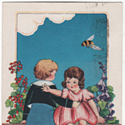 Boy and Girl with Bee Flying Overhead Valentine Vintage Postcard