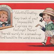 Traveling Girl Headed for Boy at Information Window Valentine Vintage Postcard