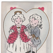 Boy and Girl in Colonial Dress Valentine Vintage Postcard
