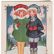 Boy and Girl with Big Eyes Standing Together Valentine Vintage Postcard