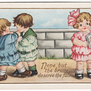 Two Little Boys fighting as a Girl Watches Valentine Vintage Postcard