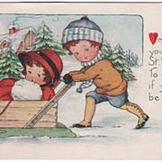 Boy Pushing Girl in a Box Sled Valentine Vintage Postcard