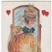 SOLD Little Girl Primping in Front of a Cheval Mirror Valentine Vintage Postcard