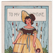 Birch Trees and Girl with Two Dolls Valentine Vintage Postcard