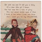 Artist Signed Magnus Greiner Mischievous Boy and Girl on a Park Bench Vintage Valentine Postca