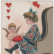 Artist Signed H B Griggs Cupid and Girl Pushing Pins in a Heart Pin Cushion ...