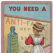 """SOLD Artist Signed C V Dwiggins """"You Need a 'Fat Cure' and You Know It Vintage Comic Card"""